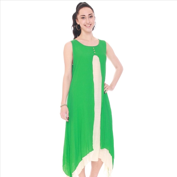 Two Piece Look Sleeveless Dress - Green