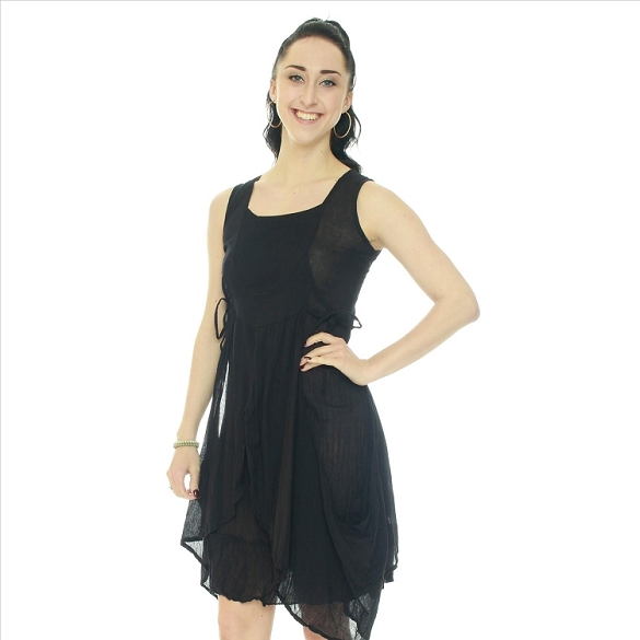 Crinkle Finish Side Tie Layered Look Dress - Black