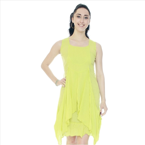 Crinkle Finish Side Tie Layered Look Dress - Lime