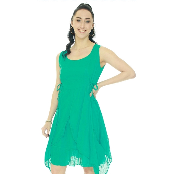 Crinkle Finish Side Tie Layered Look Dress - Turquoise