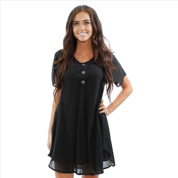 Chic Solid Short Sleeve Dress - Black