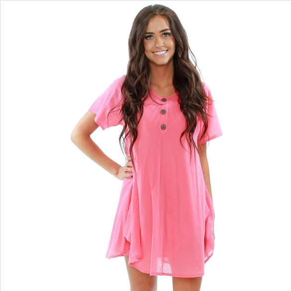 Chic Solid Short Sleeve Dress - Coral