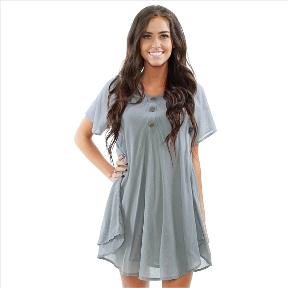 Chic Solid Short Sleeve Dress - Grey