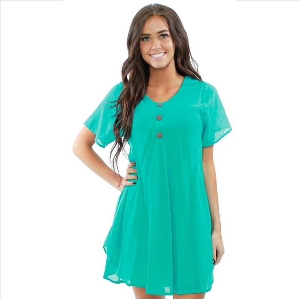 Chic Solid Short Sleeve Dress - Teal