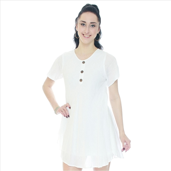 Chic Solid Short Sleeve Dress - White