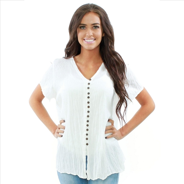 Neutral Button Up Tunic - White