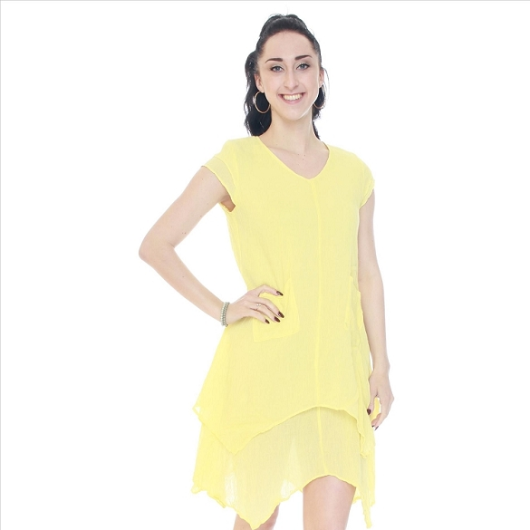 Cap Sleeve V-Neck Layered Dress - Lemon