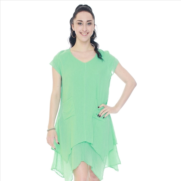 Cap Sleeve V-Neck Layered Dress - Mint