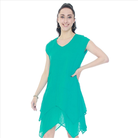 Cap Sleeve V-Neck Layered Dress - Teal