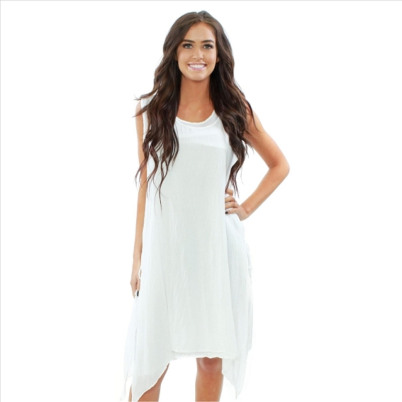 Classy 2 Piece Side Tie Layered Dress - White / White