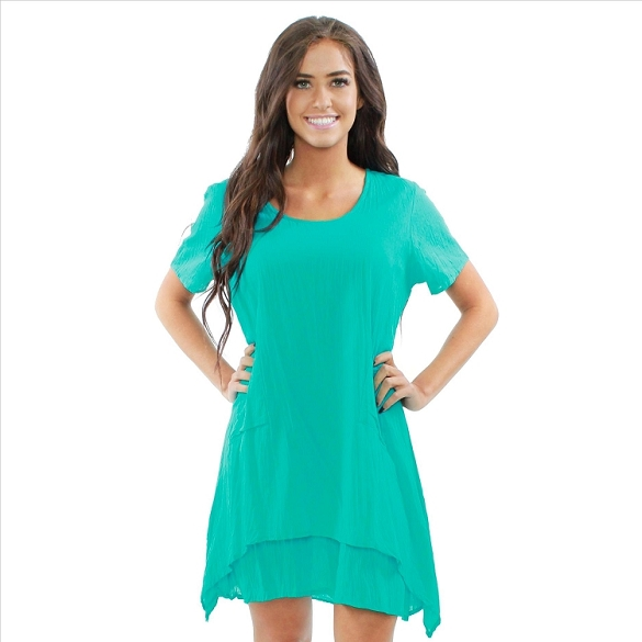 Casual Solid Cotton Layered Look Dress - Teal