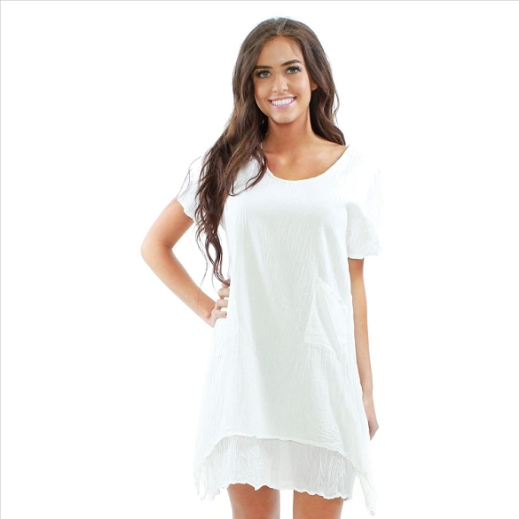 Casual Solid Cotton Layered Look Dress - White