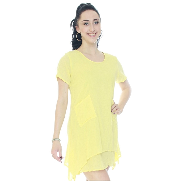 Casual Solid Cotton Layered Look Dress - Yellow