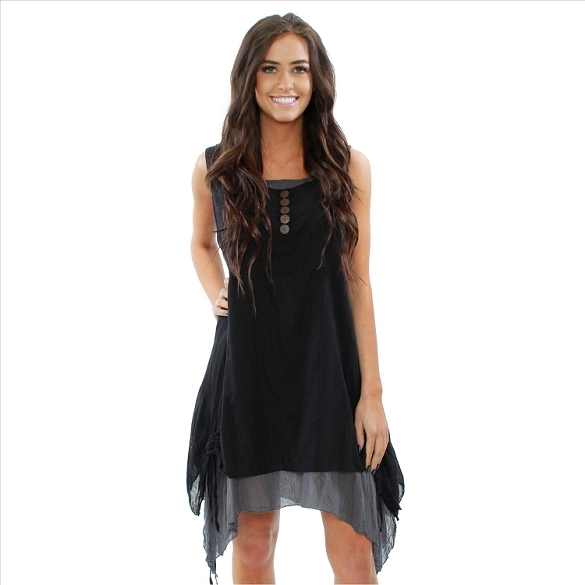 Button Accent Layered Sleeveless Dress - Black / Grey
