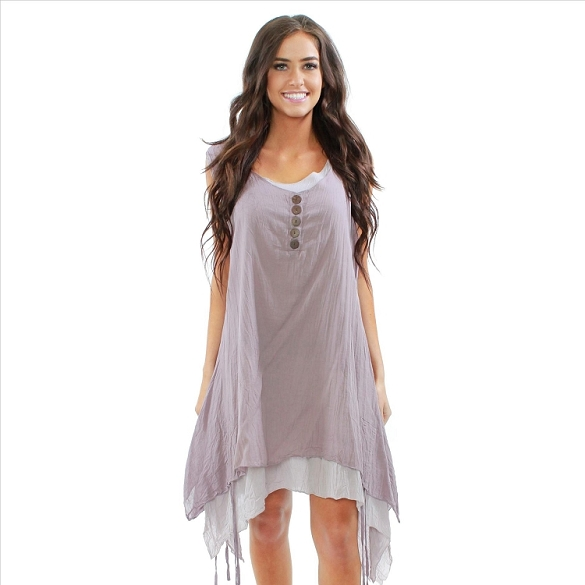 Button Accent Layered Sleeveless Dress - Mauve / Taupe