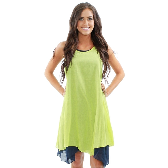 Two Piece Layered Cotton Sleeveless Dress - Lime / Navy