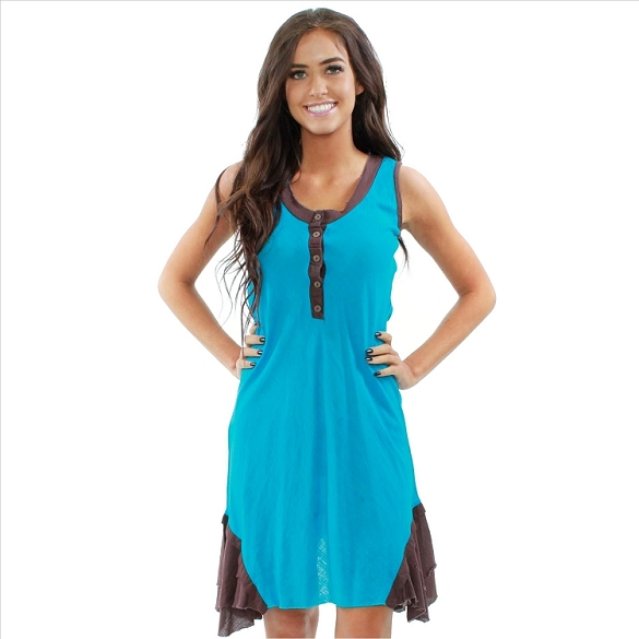 Rustic Cotton Color Block Dress - Teal / Brown