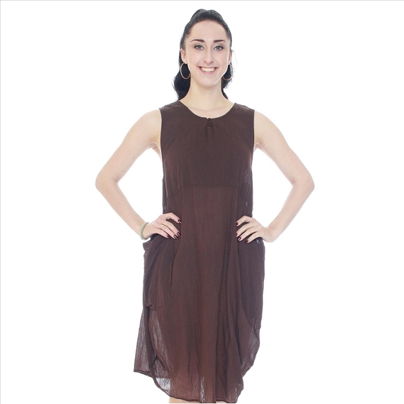 Three Button Solid Sleeveless Dress - Brown