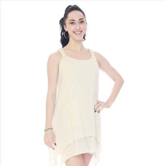 Shark Bite Gathered Shoulder Layered Dress - Beige