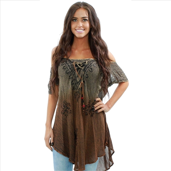 Ruffle and Lace Cape Sleeve Cold Shoulder Tunic - Brown
