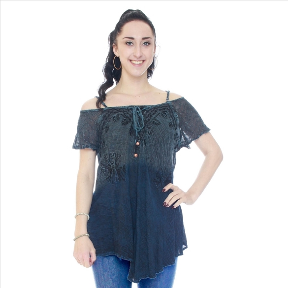 Ruffle and Lace Cape Sleeve Cold Shoulder Tunic - Teal