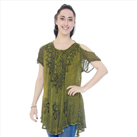 Embroidered Boho Short Sleeve Cold Shoulder - Green