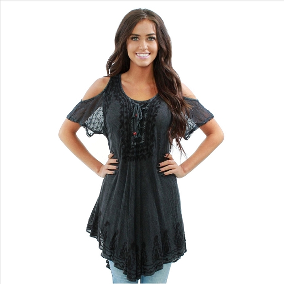 Peek-A-Boo Short Sleeve Tunic - Charcoal
