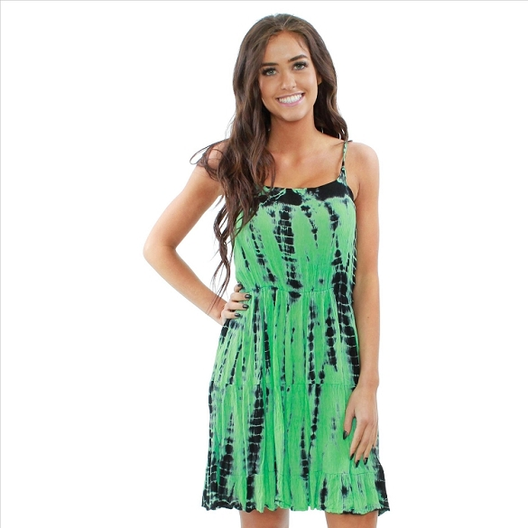 Strappy Criss Cross Back Dress - Green