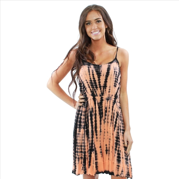Strappy Criss Cross Back Dress - Peach