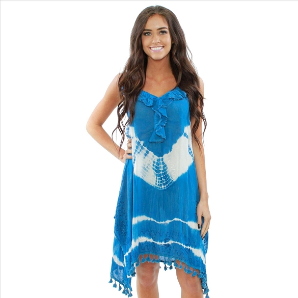 Ruffle V-Neck Tie Dye Dress - Blue