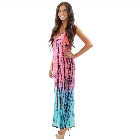 Beautiful Tie Dye V-Neck Maxi Dress - Coral