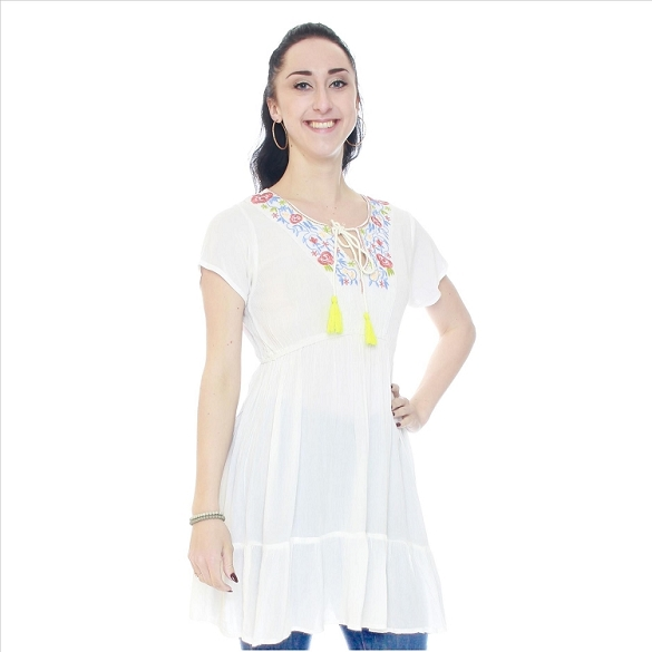 Short Sleeve Embroidered Tunic - White