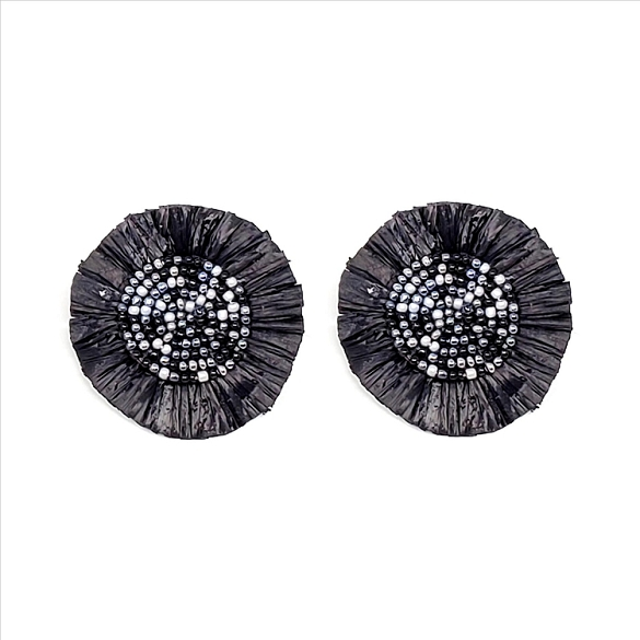 Bead and Straw Post Earrings - Black