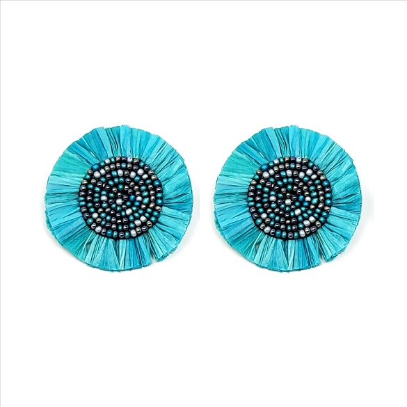 Bead and Straw Post Earrings - Teal