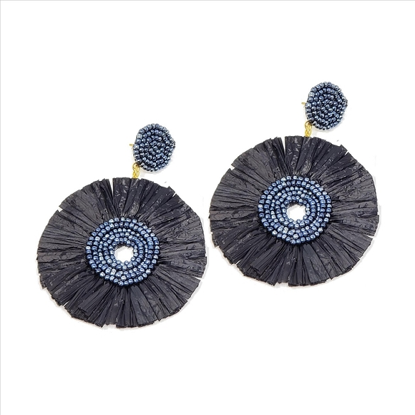Bead and Straw Dangle Earrings - Black