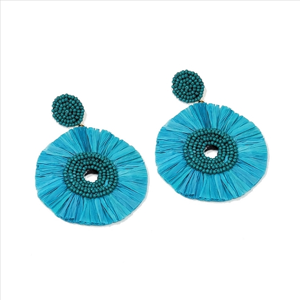 Bead and Straw Dangle Earrings - Teal