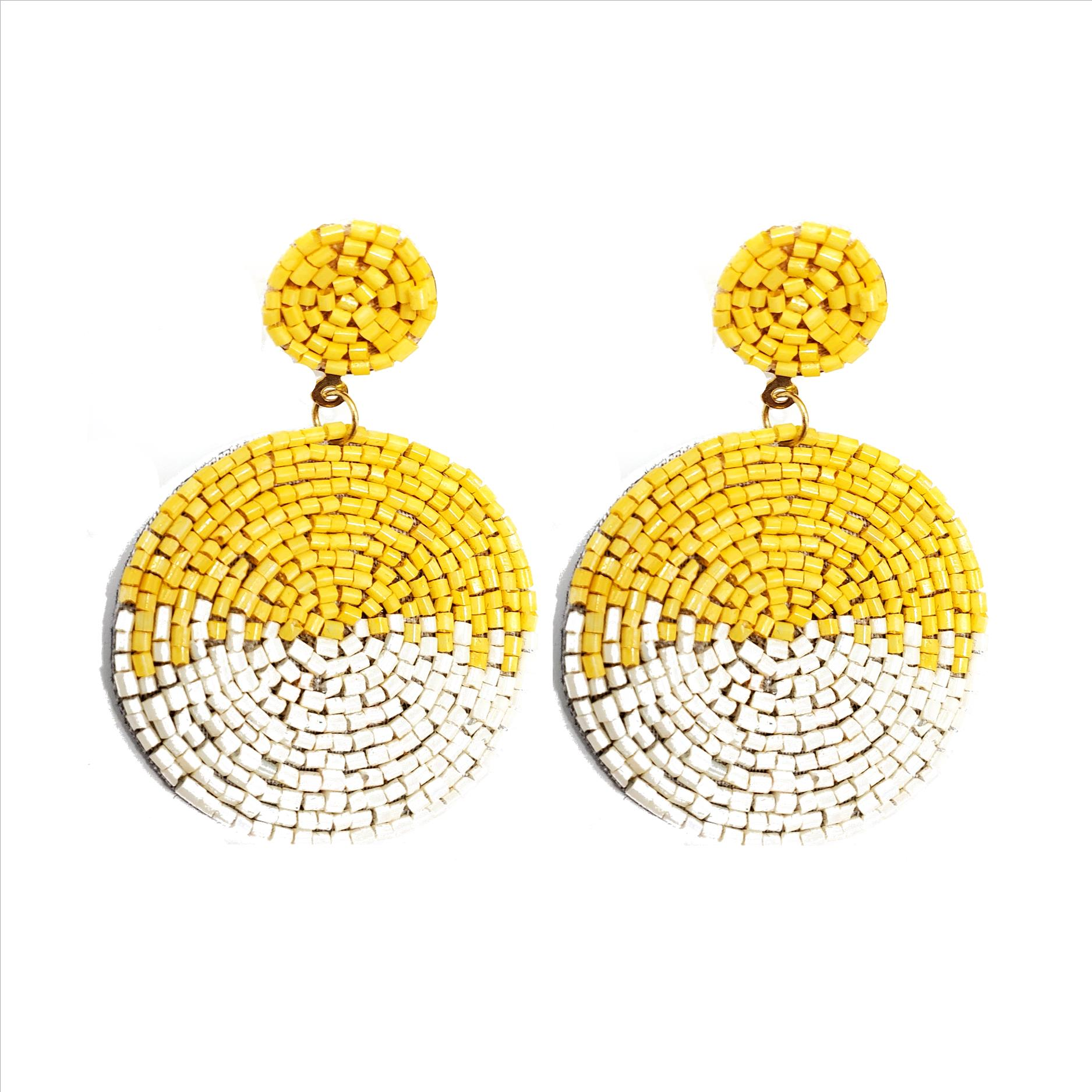 Glass Bead Round Earrings - Yellow / White