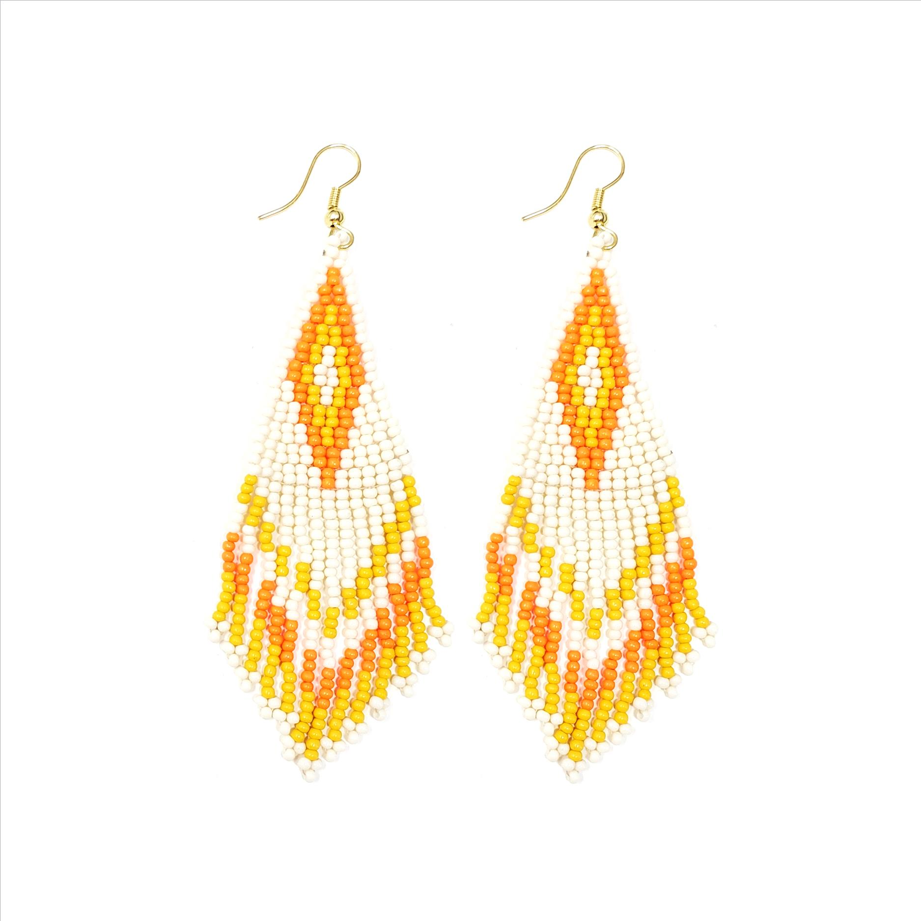 Aztec Design Glass Bead Dangle Earrings - White / Orange / Yellow