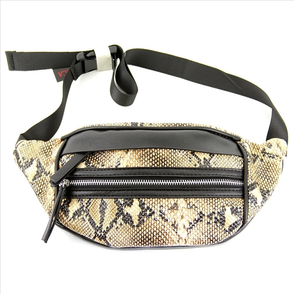Animal Print Fanny Pack - Snake - Brown
