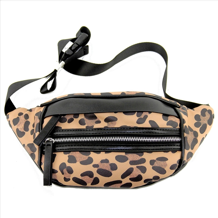 Small Leopard Print Cheetah Shoulder Bag Cross Body Fanny Pack Black Zippers and Details Pouch Festival 90s