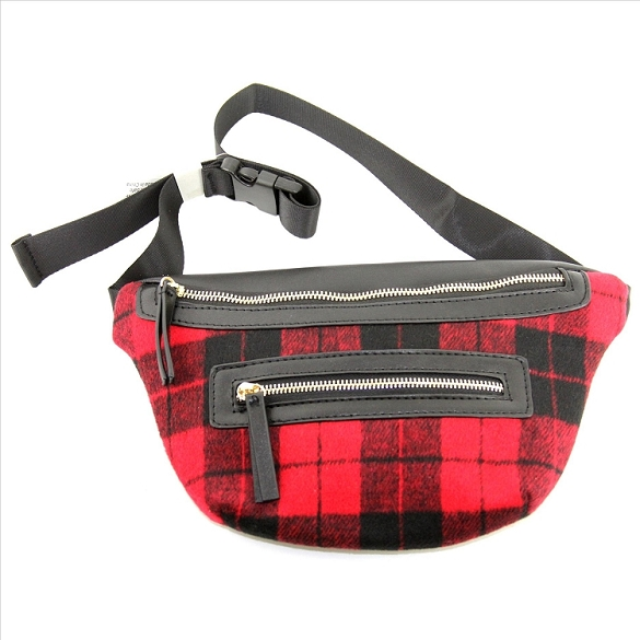 Buffalo Plaid Fanny Pack - Red
