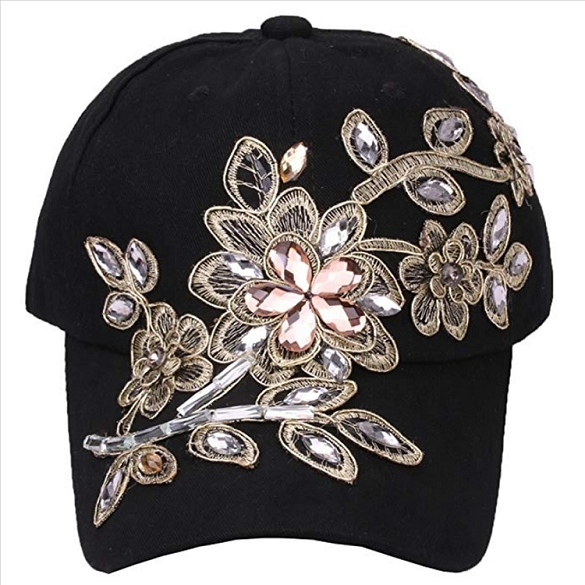 Amazing Bling Flower Hat - Black