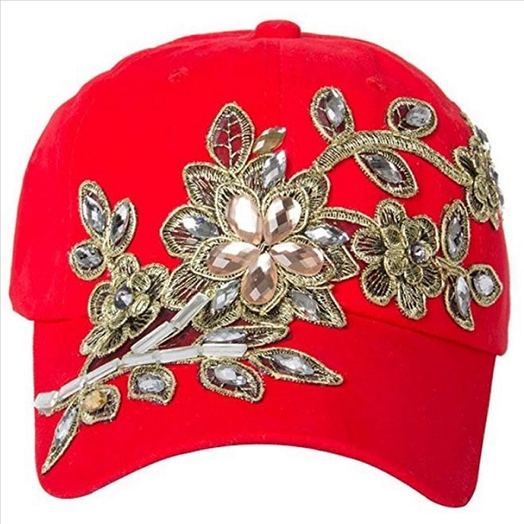 Amazing Bling Flower Hat - Red