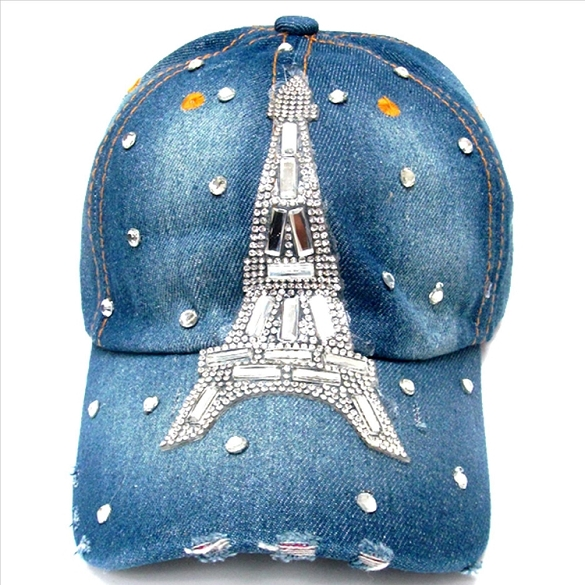 Bling Eiffel Tower Hat - Denim