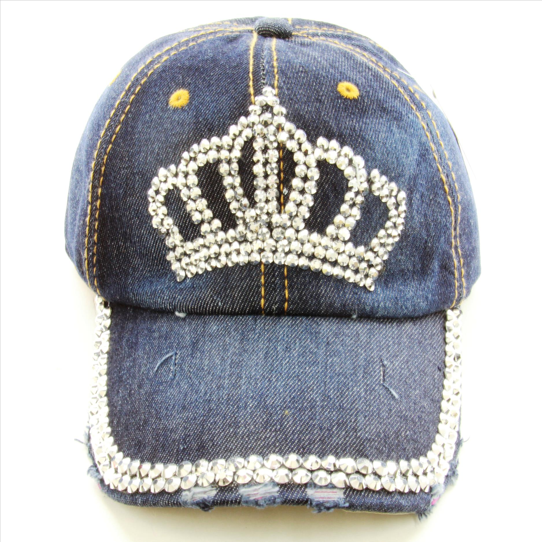 Bling Crown Denim Adjustable Hat