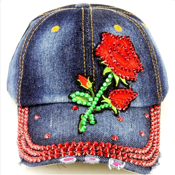 Bling Red Rose Hat