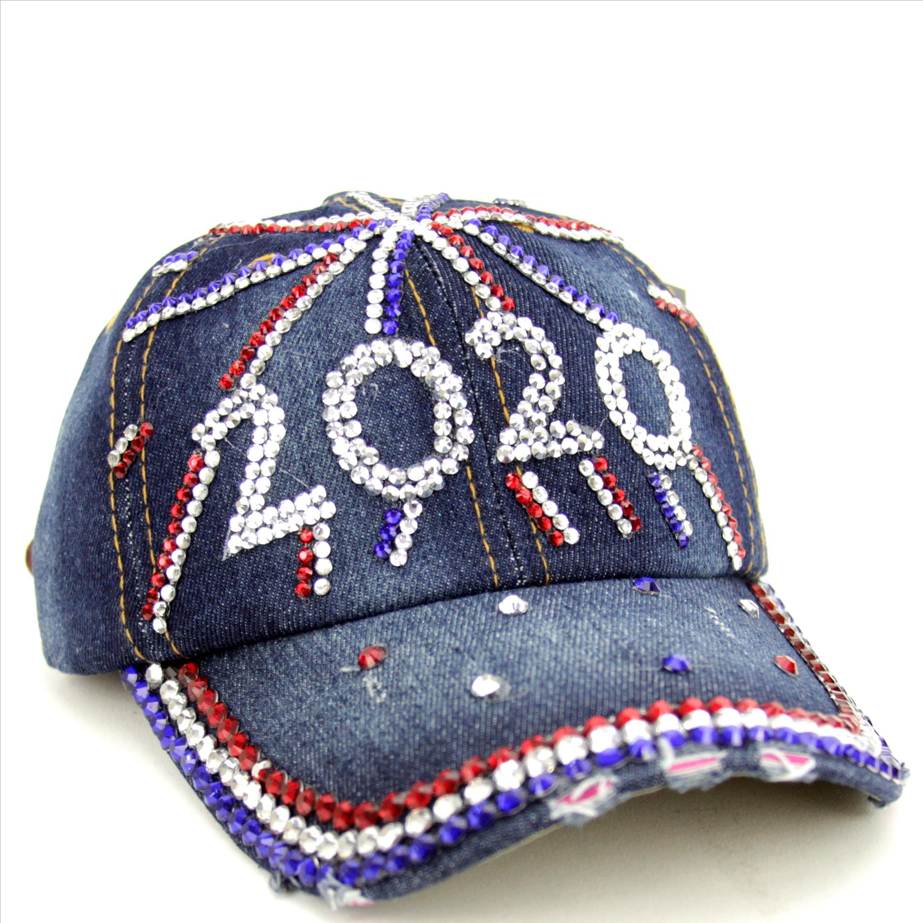 2020 Red, White and Blue Rhinestone Bling Hat on Denim