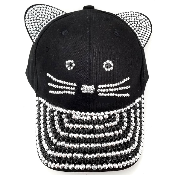 Kitty Rhinestone Hat - Black