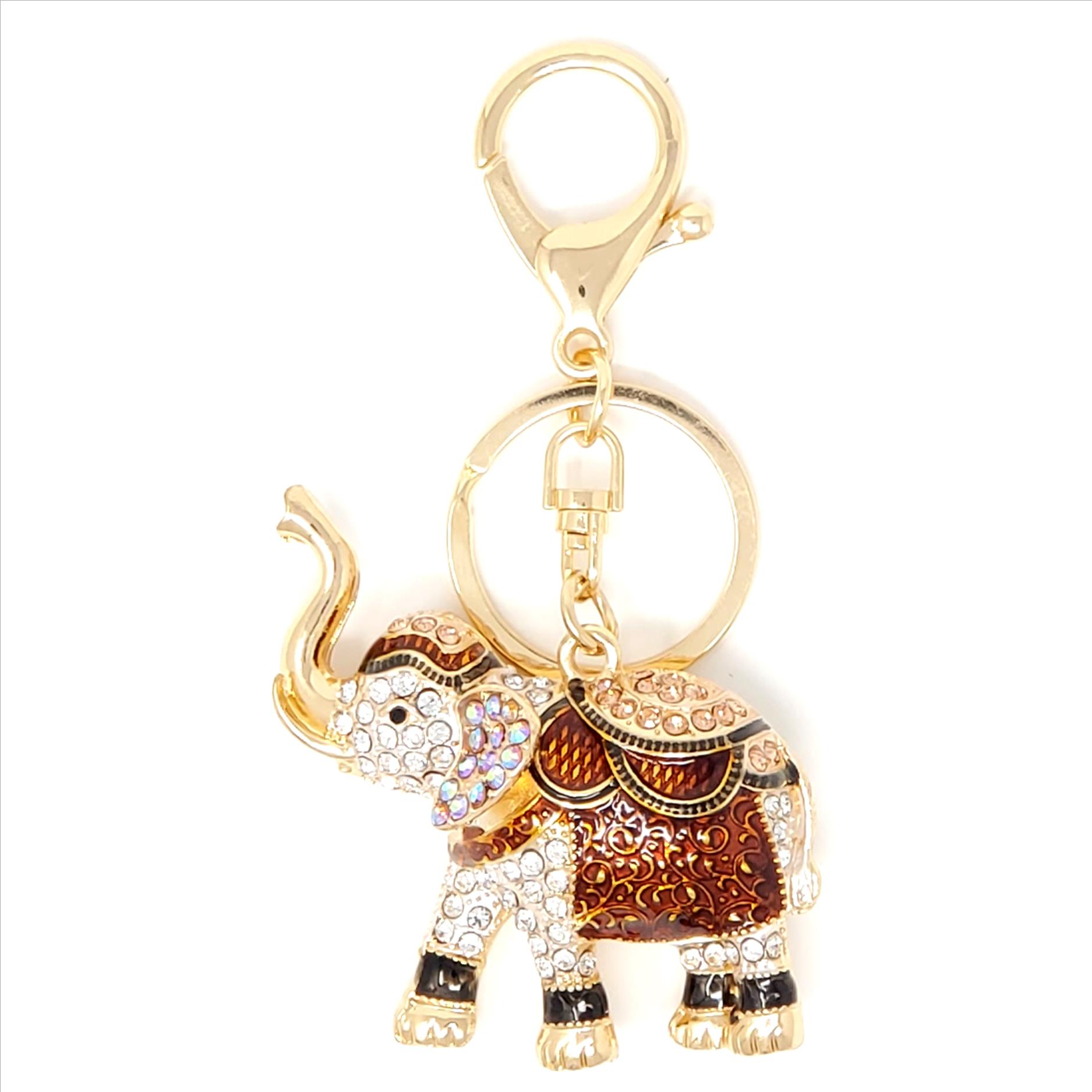 Crystal Elephant with Blanket Key Chain / Purse Charm