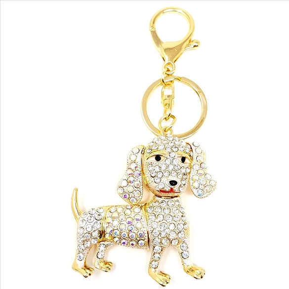 Crystal Dachshund Key Chain / Purse Charm
